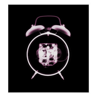 Old Fashioned X-Ray Clock Black Pink Poster