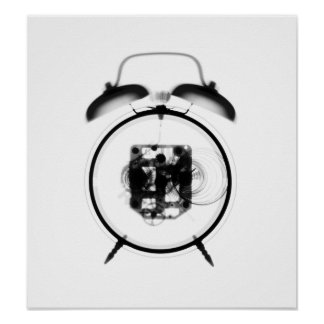 Old Fashioned X-Ray Clock Black White Print