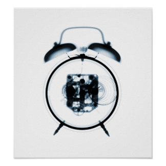 Old Fashioned X-Ray Clock Blue Poster