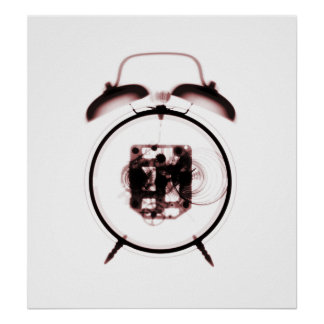 Old Fashioned X-Ray Clock Red Poster