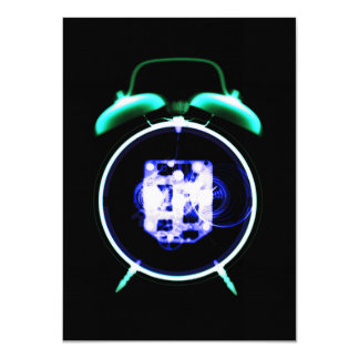 "Old Fashioned X-Ray Vision Alarm Clock - Original 4.5"" X 6.25"" Invitation Card"