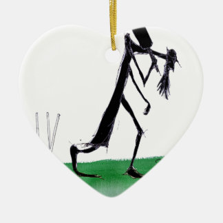 old father time - cricket, tony fernandes ceramic heart ornament