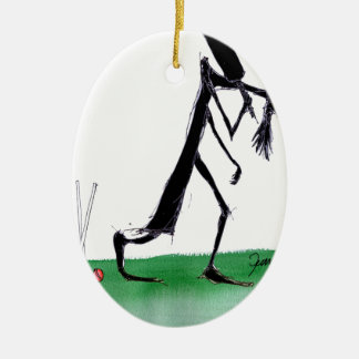 old father time - cricket, tony fernandes ceramic oval ornament