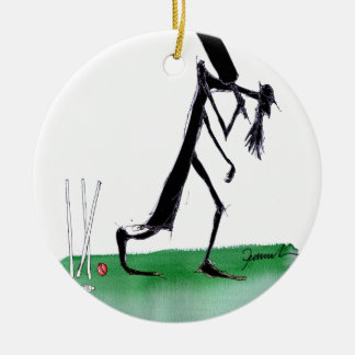 old father time - cricket, tony fernandes round ceramic ornament