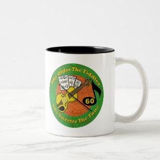 Old Fiddler 60th Birthday Gifts Two-Tone Coffee Mug