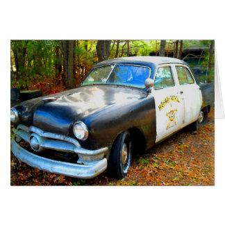 Old Fifties Highway Patrol Police Car Card