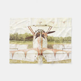 Old Fighter Airplane Biplane Fleece Blanket