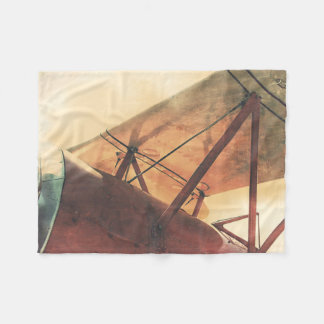 Old Fighter Airplane Biplane Red Fleece Blanket