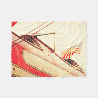 Old Fighter Airplane Salute Fleece Blanket