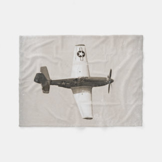 Old Fighter Airplanes B&W Fleece Blanket