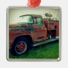 Old Fire Truck Metal Ornament