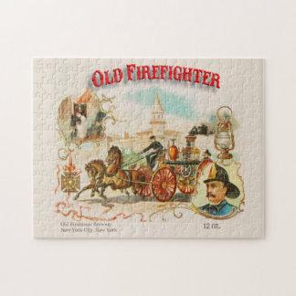 Old Firefighter Vintage Victorian Label Puzzle