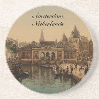 Old Fishmarket and Bourse, Amsterdam, Netherlands Coaster