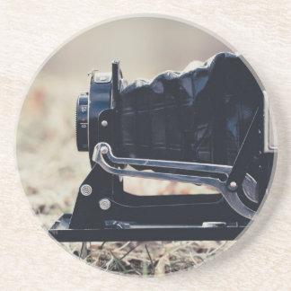 Old folding camera beverage coaster