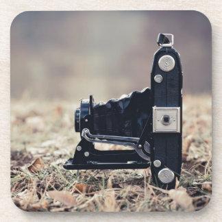 Old folding camera beverage coasters