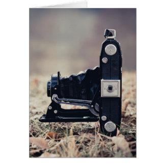 Old folding camera greeting card