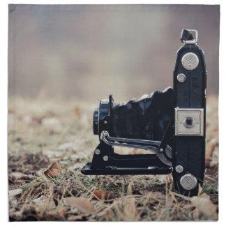 Old folding camera cloth napkin