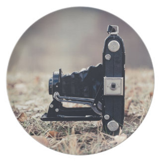 Old folding camera party plate