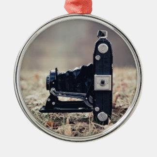 Old folding camera Silver-Colored round ornament