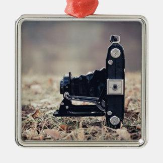 Old folding camera Silver-Colored square ornament