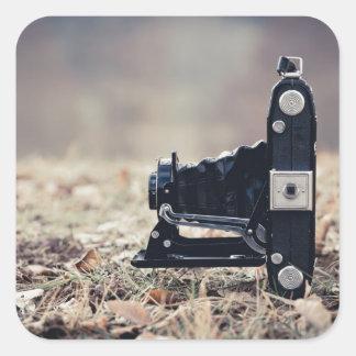 Old folding camera square sticker