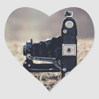 Old folding camera heart stickers