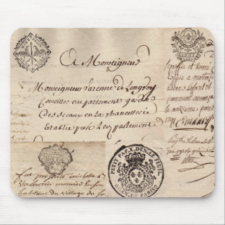 Old French Document Collage Mousepad