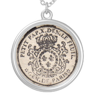 Old French Document Pendant Necklace
