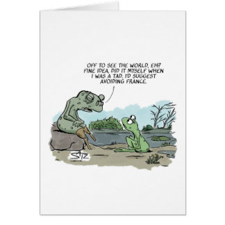 Old frog talking to young frog card