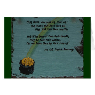 Old Gaelic Blessing with Pot of Gold Note Card