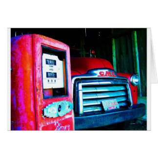 Old Gas Pump & GMC Farming Truck Card