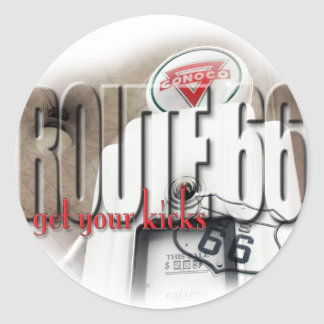 Old Gas Pump - Route 66 Classic Round Sticker