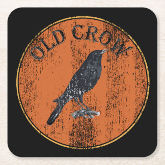 Old Geezer Over The Hill Old Crow Square Paper Coaster