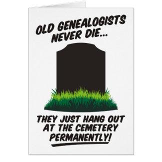 Old Genealogists Never Die Genealogy Birthday Card