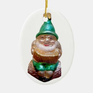 Old German Gnome Ceramic Ornament