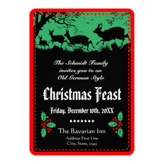 """Old German Style Christmas Party or Banquet 5"""" X 7"""" Invitation Card"""