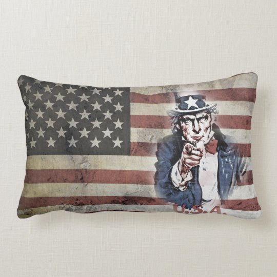 Old Glory and Uncle Sam Lumbar Pillow
