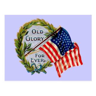 Old Glory Forever Vintage Flag Postcard