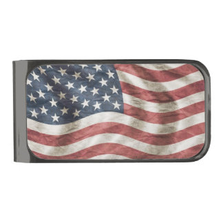Old Glory US Flag Personalized Red, White and Blue Gunmetal Finish Money Clip