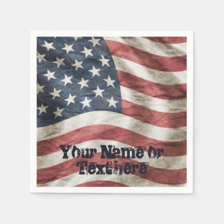 Old Glory US Flag Red, White and Blue Paper Napkins