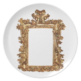 Old gold frame isolates on white party plates