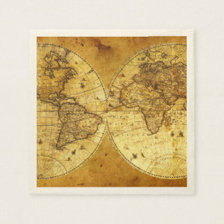 Old Golden World Map Disposable Napkins