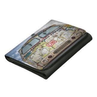 Old graffiti truck leather trifold wallet