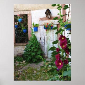 Old Greek Blue Door in Greece Poster