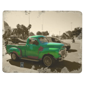 Old green car journal