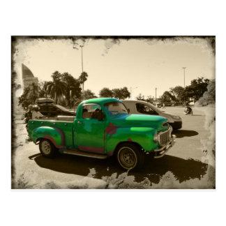 Old green car postcard
