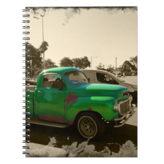Old green car spiral notebook