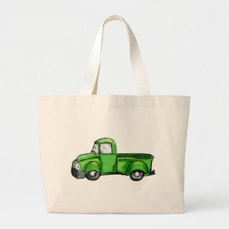 Old Green Pickup Truck Large Tote Bag