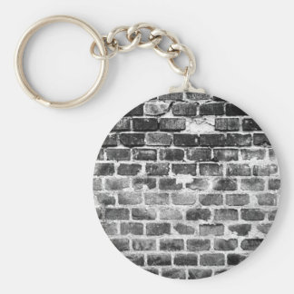 Old Grey Weathered Brick Wall Texture Basic Round Button Keychain