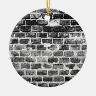 Old Grey Weathered Brick Wall Texture Round Ceramic Ornament